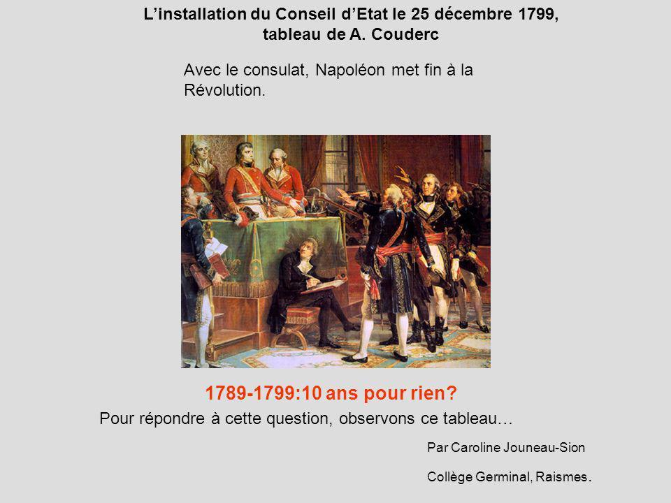 Linstallation du Conseil dEtat le 25 décembre 1799, tableau de A. Couderc Avec le consulat, Napoléon met fin à la Révolution. 1789-1799:10 ans pour ri