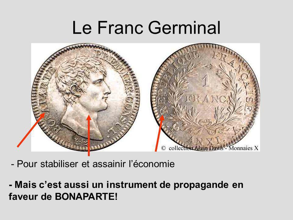 Le Franc Germinal - Mais cest aussi un instrument de propagande en faveur de BONAPARTE! - Pour stabiliser et assainir léconomie