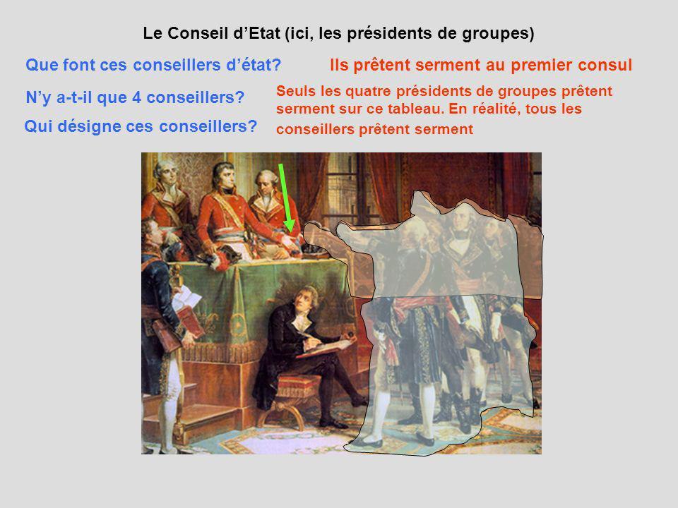 Le Conseil dEtat (ici, les présidents de groupes) Que font ces conseillers détat?Ils prêtent serment au premier consul Ny a-t-il que 4 conseillers? Se
