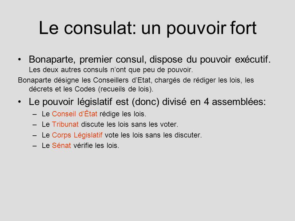Le consulat: un pouvoir fort Bonaparte, premier consul, dispose du pouvoir exécutif. Les deux autres consuls nont que peu de pouvoir. Bonaparte désign