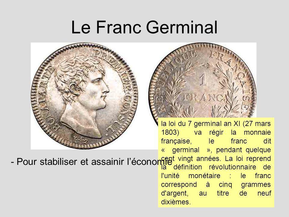 Le Franc Germinal la loi du 7 germinal an XI (27 mars 1803) va régir la monnaie française, le franc dit « germinal », pendant quelque cent vingt année