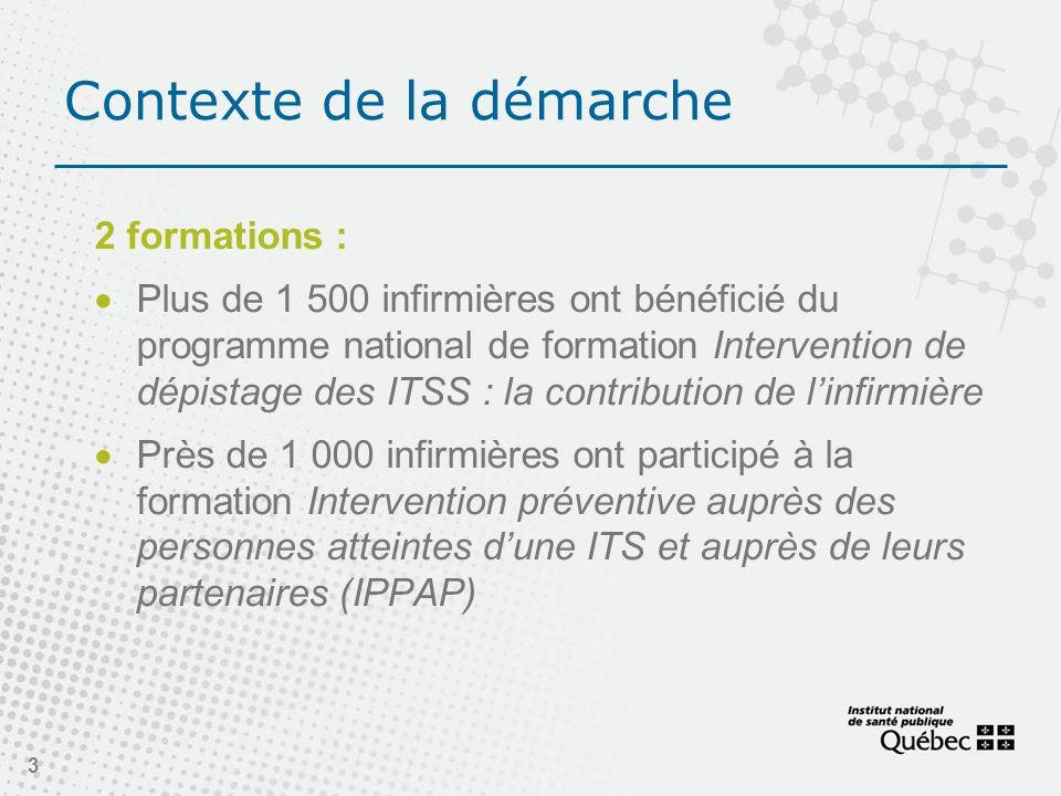 Contexte de la démarche 2 formations : Plus de 1 500 infirmières ont bénéficié du programme national de formation Intervention de dépistage des ITSS :