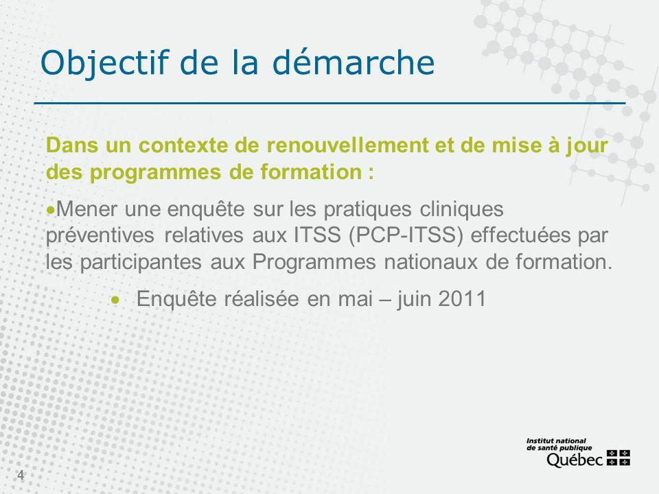 Objectif de la démarche Dans un contexte de renouvellement et de mise à jour des programmes de formation : Mener une enquête sur les pratiques cliniques préventives relatives aux ITSS (PCP-ITSS) effectuées par les participantes aux Programmes nationaux de formation.