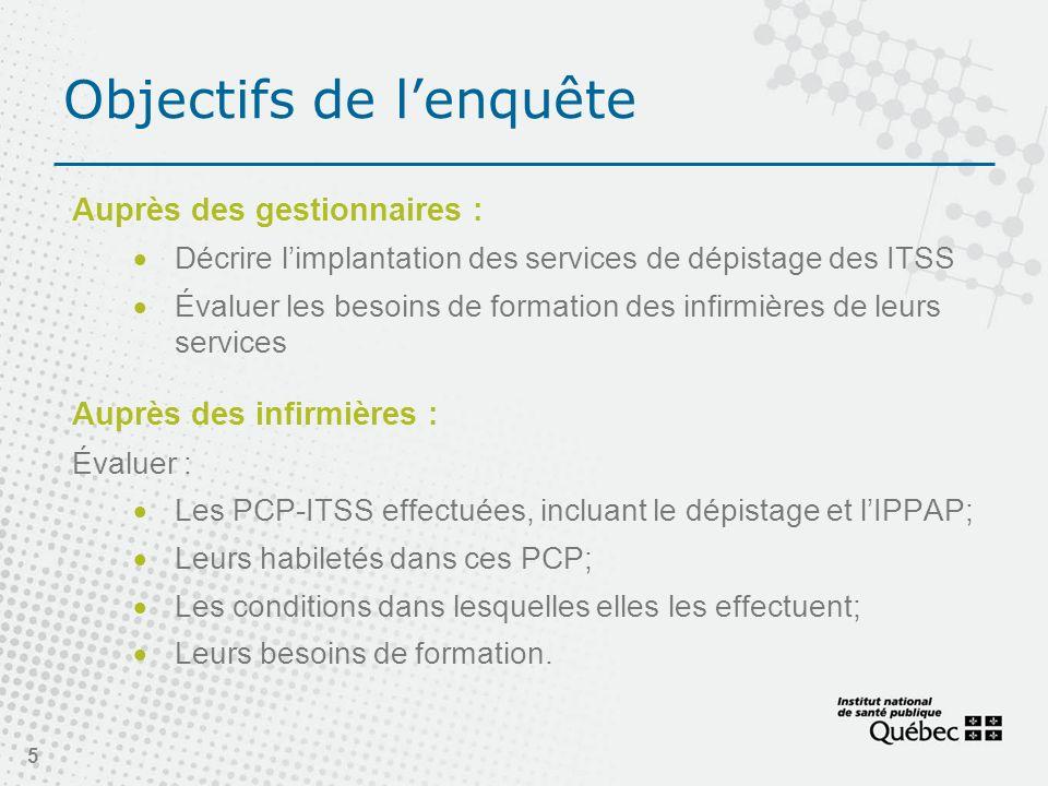Objectifs de lenquête Auprès des gestionnaires : Décrire limplantation des services de dépistage des ITSS Évaluer les besoins de formation des infirmi