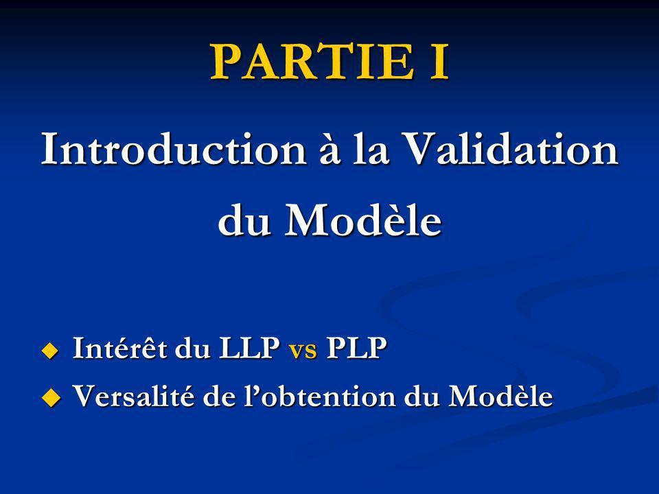 INTRODUCTION à la VALIDATION du MODELE MODELES DE BASE LLP vs PLP INTRODUCTION à la VALIDATION du MODELE MODELES DE BASE LLP vs PLP