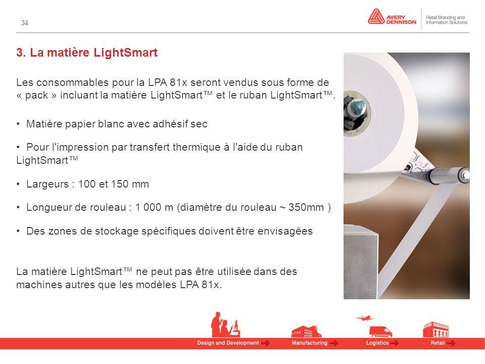 34 Les consommables pour la LPA 81x seront vendus sous forme de « pack » incluant la matière LightSmart et le ruban LightSmart.
