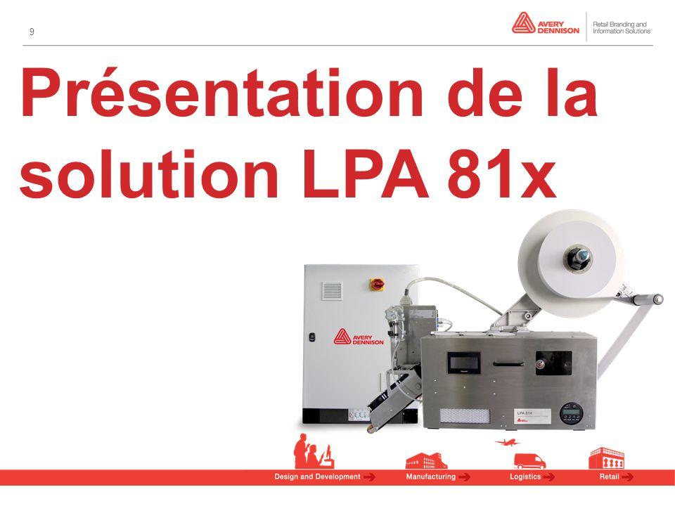 20 Avantages Avantages de la LPA 81x Efficacité Productivité Coûts Totaux de Pose par étiquette Développement Durable Flexibilité des tailles d étiquette