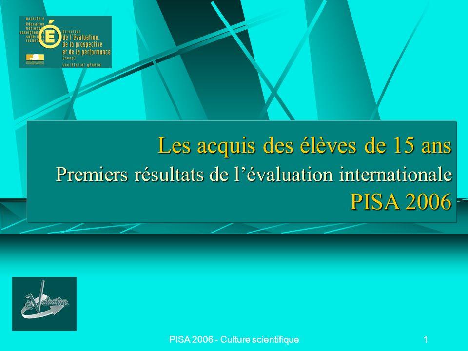 PISA 2006 - Culture scientifique2 PISA 2006 PISA (Programme pour le Suivi des Acquis des Élèves) enquête internationale pilotée par lOCDE 57 pays participants en 2006 : 30 pays de lOCDE + 27 pays partenaires Population visée : les élèves de 15 ans, i.e.