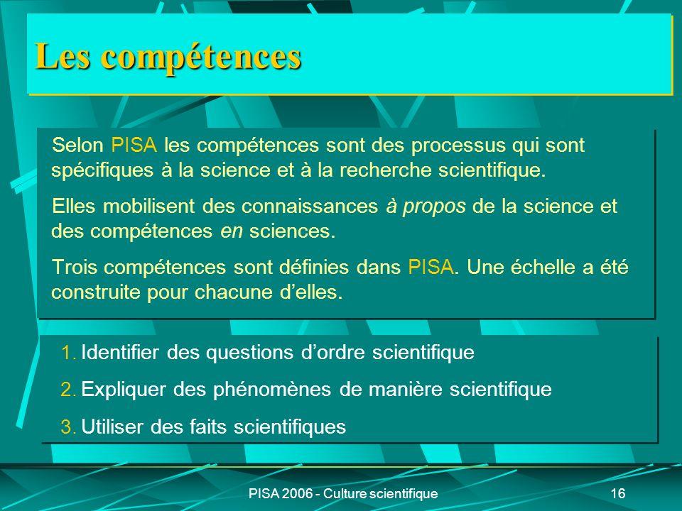PISA 2006 - Culture scientifique16 Les compétences Selon PISA les compétences sont des processus qui sont spécifiques à la science et à la recherche s