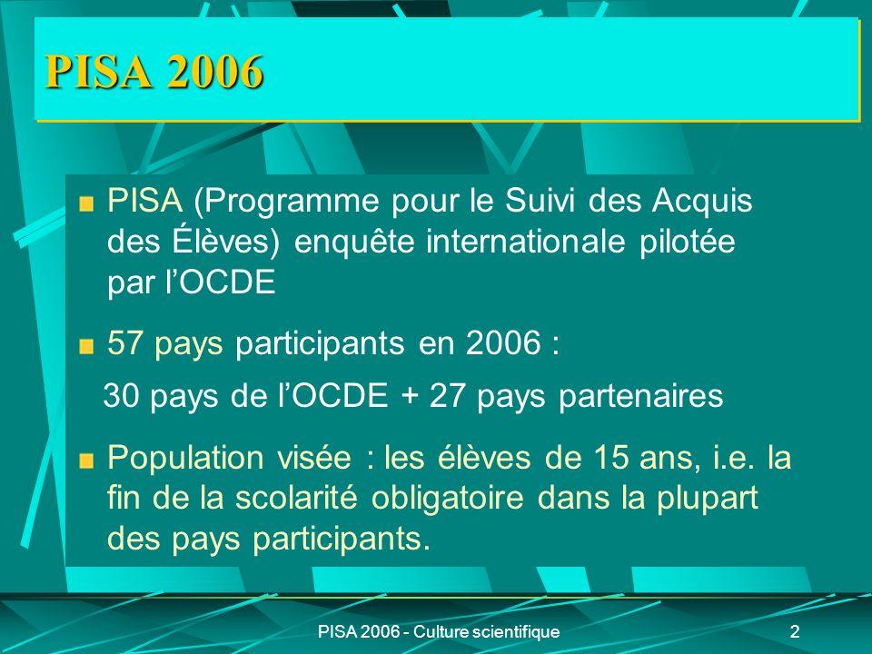 PISA 2006 - Culture scientifique2 PISA 2006 PISA (Programme pour le Suivi des Acquis des Élèves) enquête internationale pilotée par lOCDE 57 pays part
