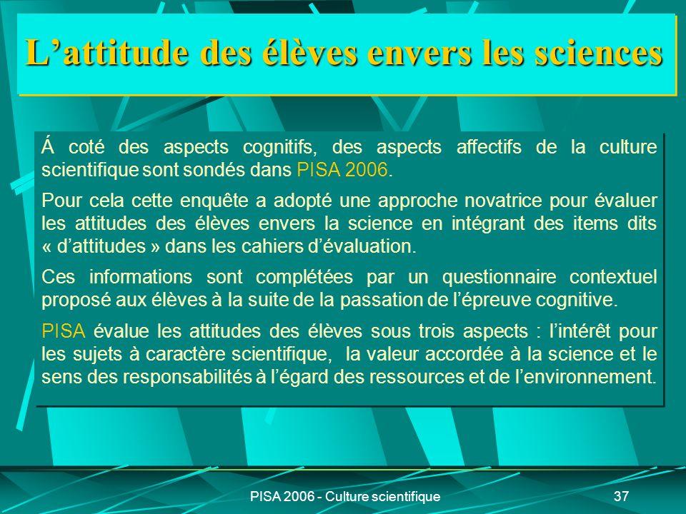 PISA 2006 - Culture scientifique37 Lattitude des élèves envers les sciences Á coté des aspects cognitifs, des aspects affectifs de la culture scientif