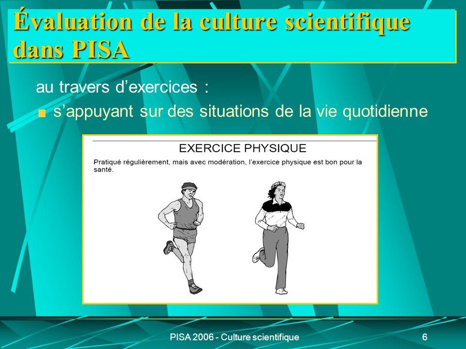 PISA 2006 - Culture scientifique17 Répartition des 3 compétences dans les 2 catégories de connaissances 2 catégories de connaissances À propos de la science En sciences 3 compétences identifier des questions d ordre scientifique 23 items expliquer des phénomènes de manière scientifique 48 items utiliser des faits scientifiques22 items9 items