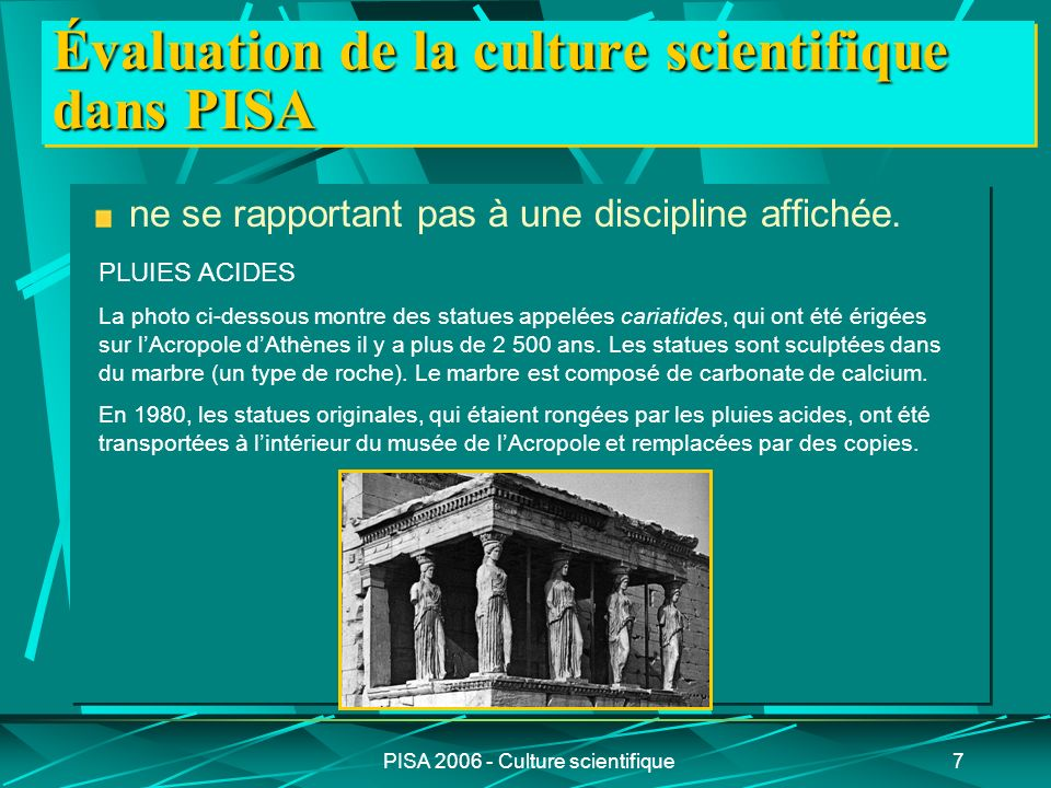 PISA 2006 - Culture scientifique18 Identifier des questions dordre scientifique La compétence didentification des questions dordre scientifique suppose une capacité à : (La moitié des items de la catégorie connaissances à propos de la science) A.