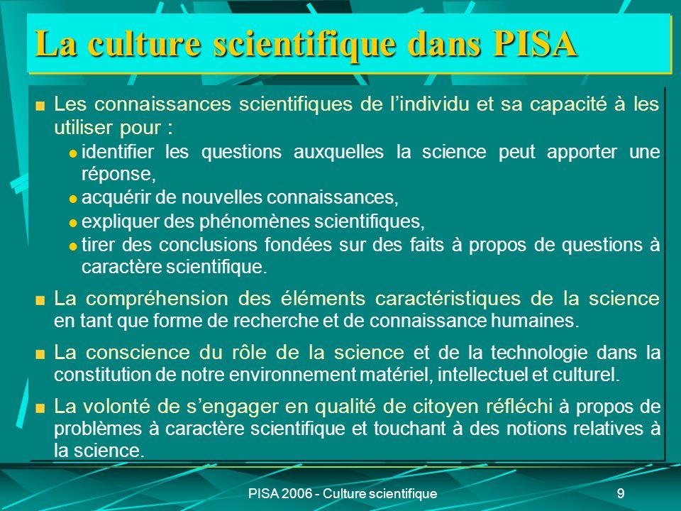 PISA 2006 - Culture scientifique9 La culture scientifique dans PISA Les connaissances scientifiques de lindividu et sa capacité à les utiliser pour :