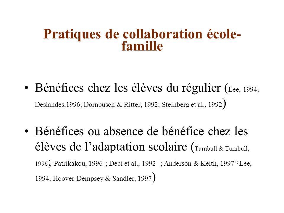 Questions de recherche Quelles sont les différences entre les niveaux de pratiques de collaboration école- famille au régulier et en adaptation scolaire.