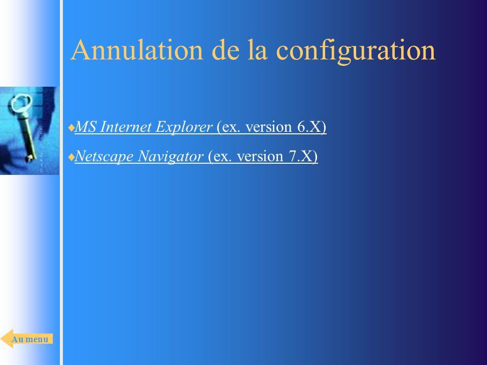 Annulation de la configuration MS Internet Explorer (ex. version 6.X) MS Internet Explorer (ex. version 6.X) Netscape Navigator (ex. version 7.X) Nets