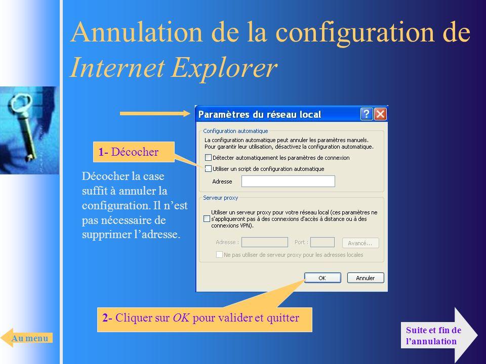 Annulation de la configuration de Internet Explorer 1- Décocher 2- Cliquer sur OK pour valider et quitter Suite et fin de lannulation Décocher la case