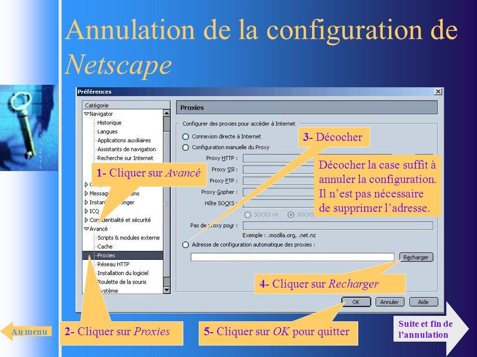 Annulation de la configuration de Netscape 2- Cliquer sur Proxies 1- Cliquer sur Avancé 5- Cliquer sur OK pour quitter 3- Décocher 4- Cliquer sur Rech