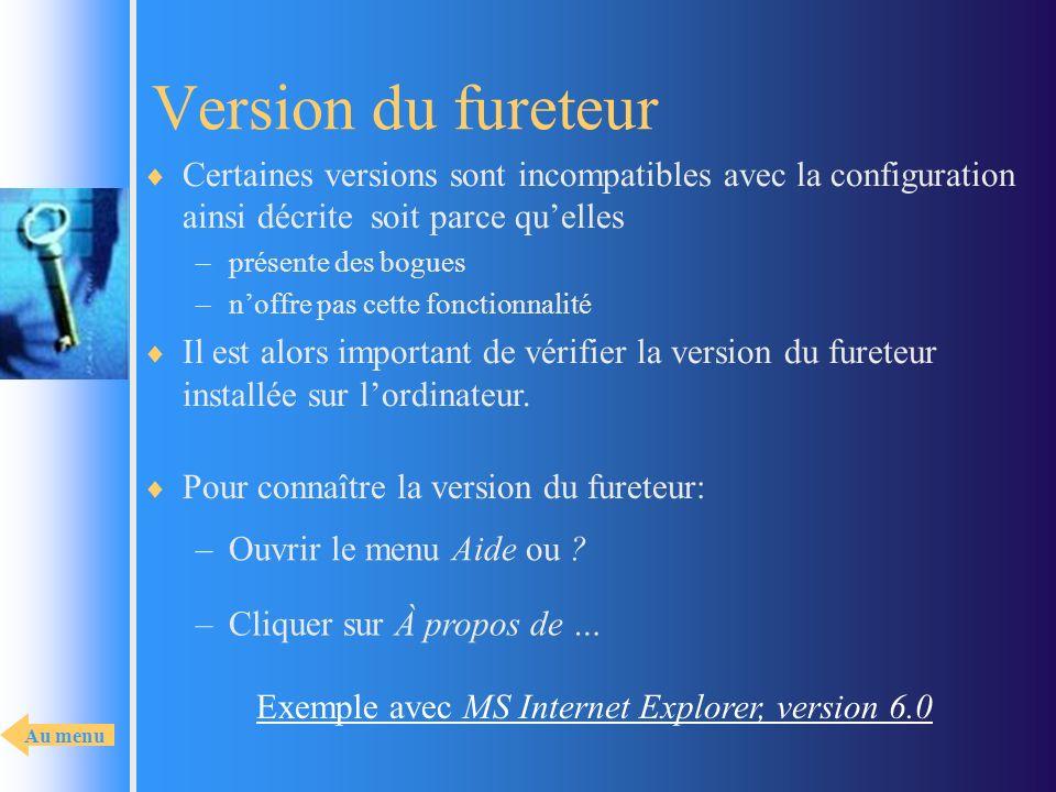 Version du fureteur Certaines versions sont incompatibles avec la configuration ainsi décrite soit parce quelles –présente des bogues –noffre pas cett