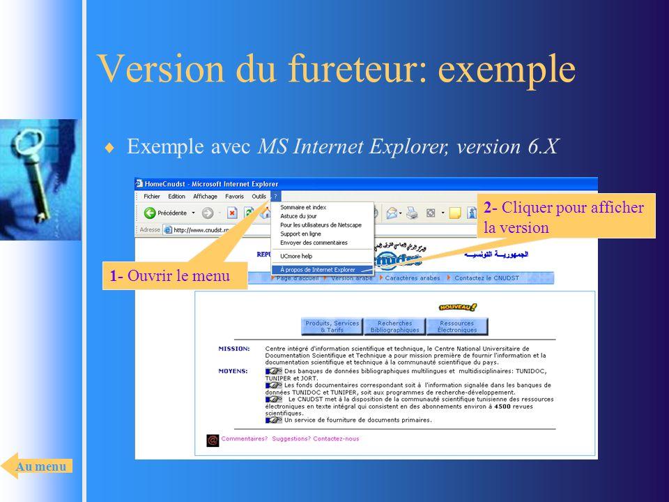 Version du fureteur: exemple Exemple avec MS Internet Explorer, version 6.X 2- Cliquer pour afficher la version 1- Ouvrir le menu Au menu