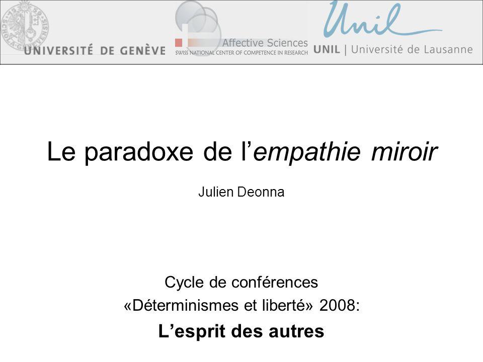 Le paradoxe de lempathie miroir Julien Deonna Cycle de conférences «Déterminismes et liberté» 2008: Lesprit des autres