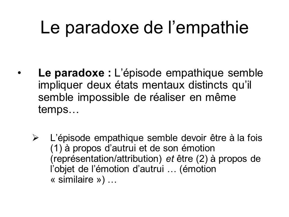 Le paradoxe de lempathie Le paradoxe : Lépisode empathique semble impliquer deux états mentaux distincts quil semble impossible de réaliser en même te