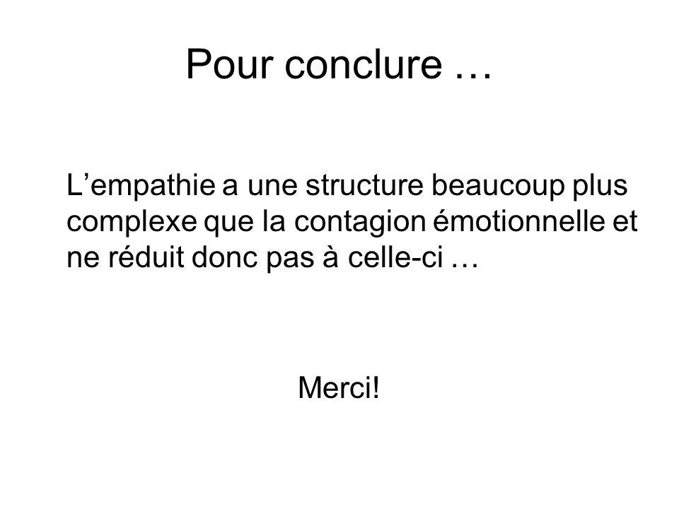 Pour conclure … Lempathie a une structure beaucoup plus complexe que la contagion émotionnelle et ne réduit donc pas à celle-ci … Merci!