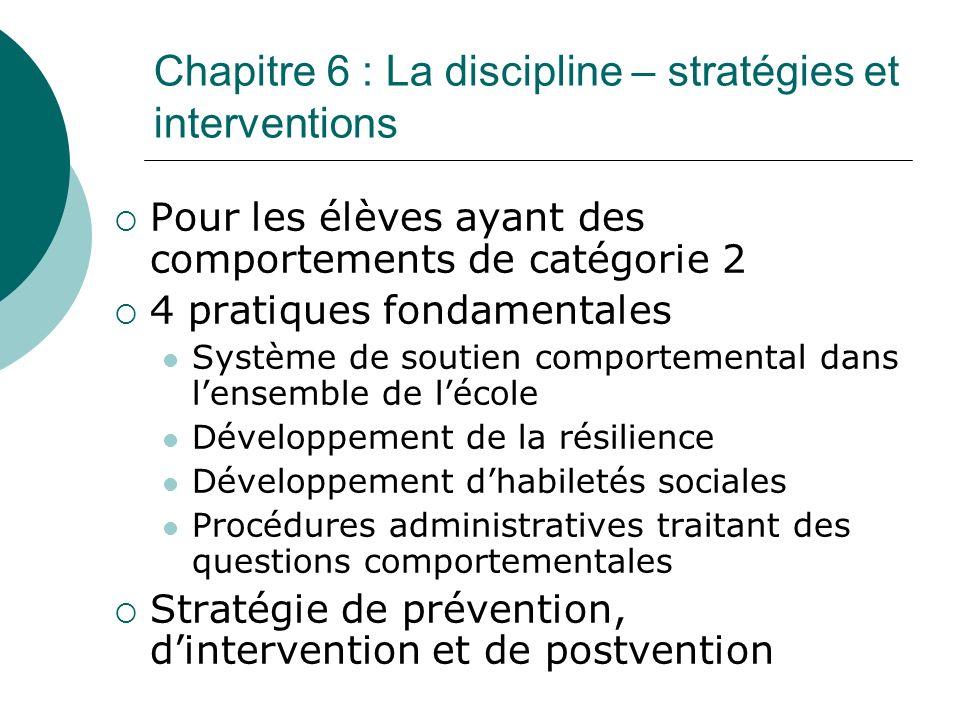 Chapitre 6 : La discipline – stratégies et interventions Pour les élèves ayant des comportements de catégorie 2 4 pratiques fondamentales Système de s