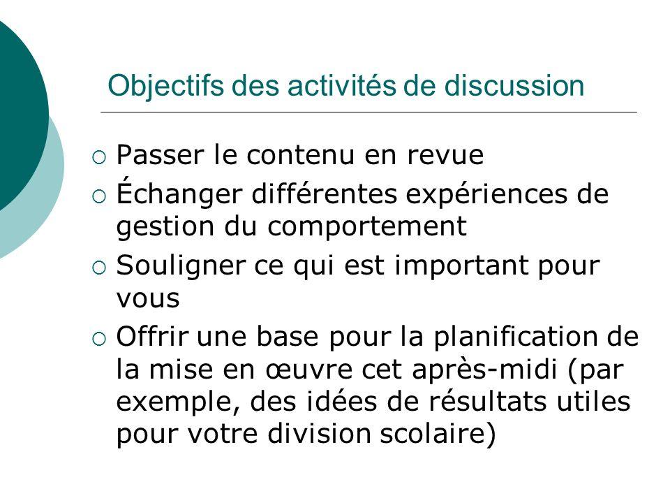 Objectifs des activités de discussion Passer le contenu en revue Échanger différentes expériences de gestion du comportement Souligner ce qui est impo