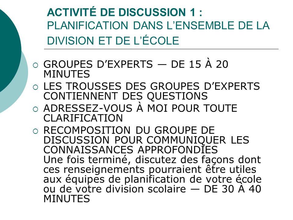 ACTIVITÉ DE DISCUSSION 1 : PLANIFICATION DANS LENSEMBLE DE LA DIVISION ET DE LÉCOLE GROUPES DEXPERTS DE 15 À 20 MINUTES LES TROUSSES DES GROUPES DEXPE
