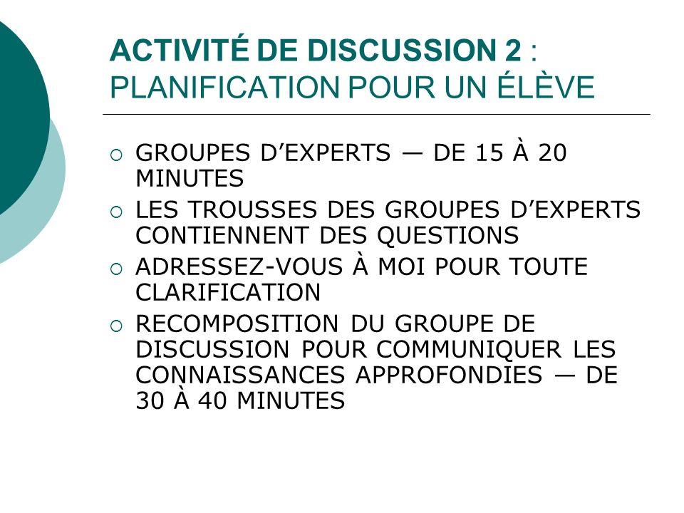 ACTIVITÉ DE DISCUSSION 2 : PLANIFICATION POUR UN ÉLÈVE GROUPES DEXPERTS DE 15 À 20 MINUTES LES TROUSSES DES GROUPES DEXPERTS CONTIENNENT DES QUESTIONS