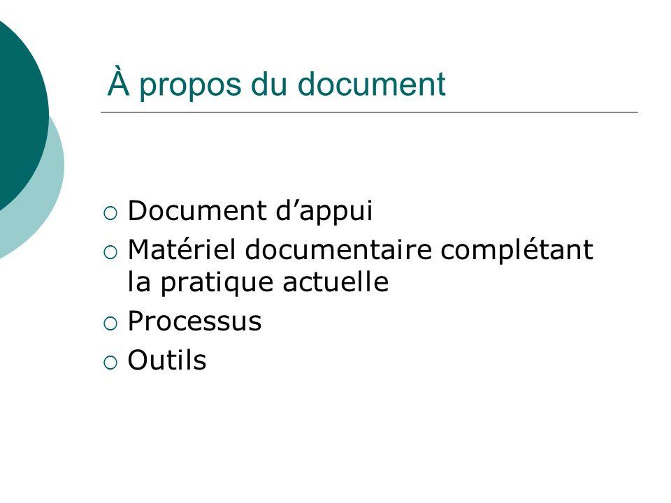 À propos du document Document dappui Matériel documentaire complétant la pratique actuelle Processus Outils