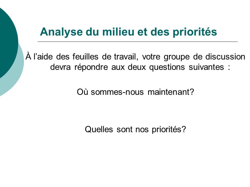 Analyse du milieu et des priorités À laide des feuilles de travail, votre groupe de discussion devra répondre aux deux questions suivantes : Où sommes