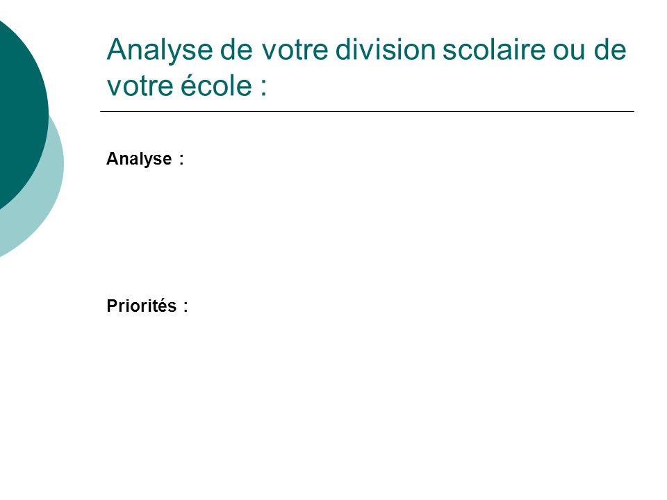 Analyse de votre division scolaire ou de votre école : Analyse : Priorités :
