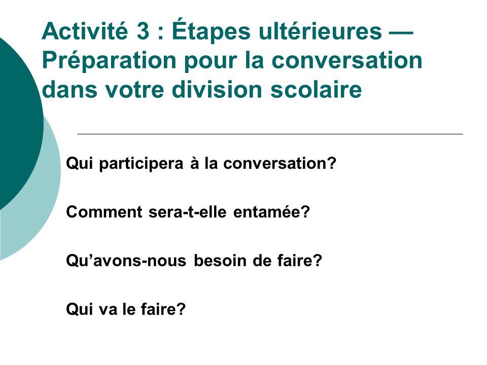 Activité 3 : Étapes ultérieures Préparation pour la conversation dans votre division scolaire Qui participera à la conversation? Comment sera-t-elle e