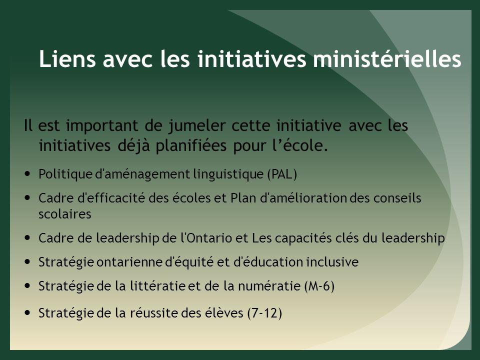 Liens avec les initiatives ministérielles Il est important de jumeler cette initiative avec les initiatives déjà planifiées pour lécole.