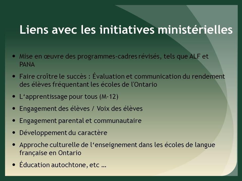 Liens avec les initiatives ministérielles Mise en œuvre des programmes-cadres révisés, tels que ALF et PANA Faire croître le succès : Évaluation et communication du rendement des élèves fréquentant les écoles de l Ontario Lapprentissage pour tous (M-12) Engagement des élèves / Voix des élèves Engagement parental et communautaire Développement du caractère Approche culturelle de lenseignement dans les écoles de langue française en Ontario Éducation autochtone, etc …