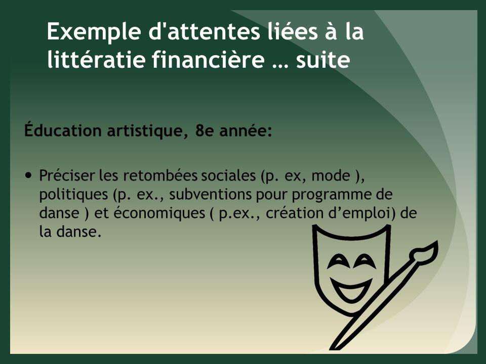 Exemple d attentes liées à la littératie financière … suite Éducation artistique, 8e année: Préciser les retombées sociales (p.