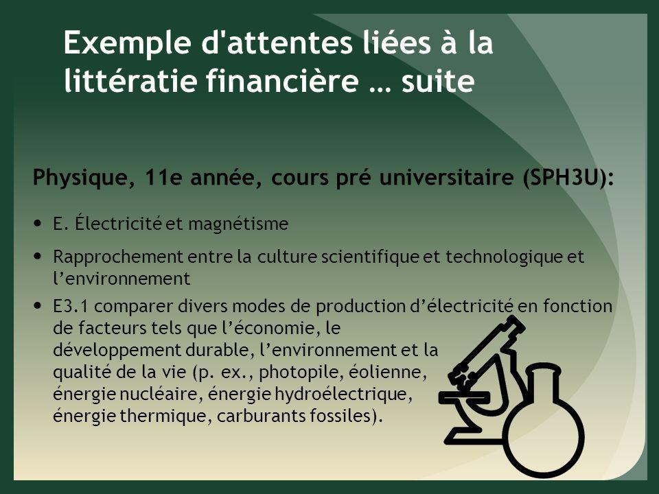 Exemple d attentes liées à la littératie financière … suite Physique, 11e année, cours pré universitaire (SPH3U): E.