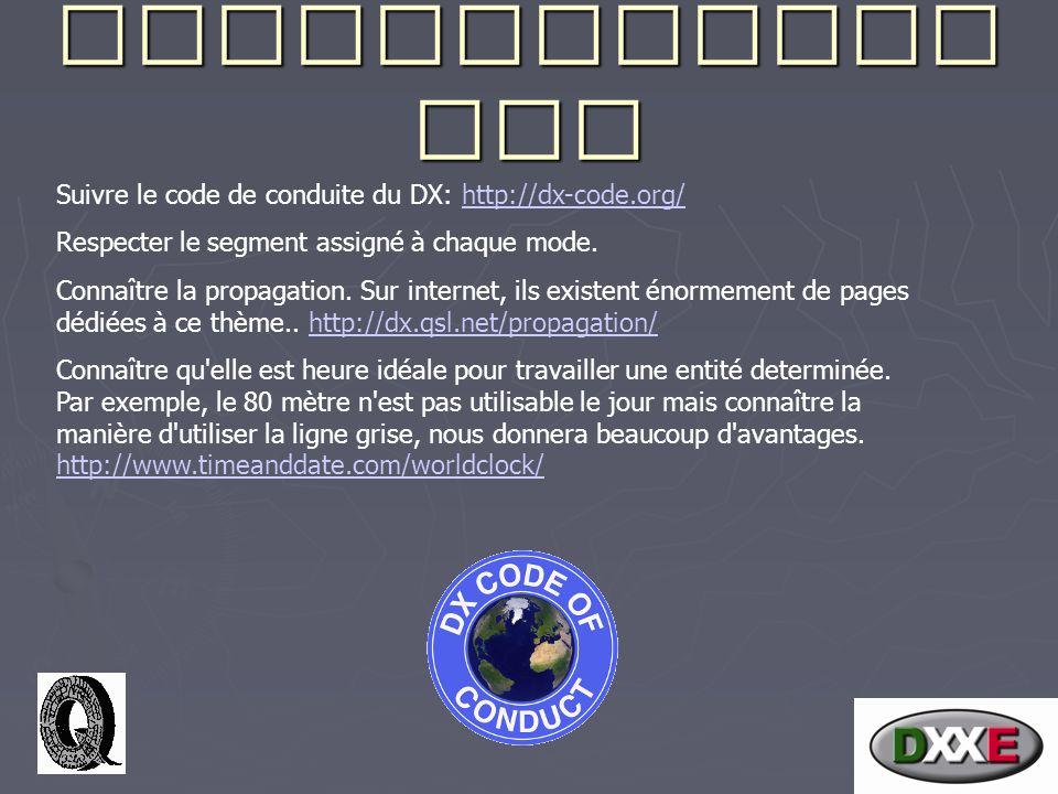 Recommandati ons Suivre le code de conduite du DX: http://dx-code.org/http://dx-code.org/ Respecter le segment assigné à chaque mode.