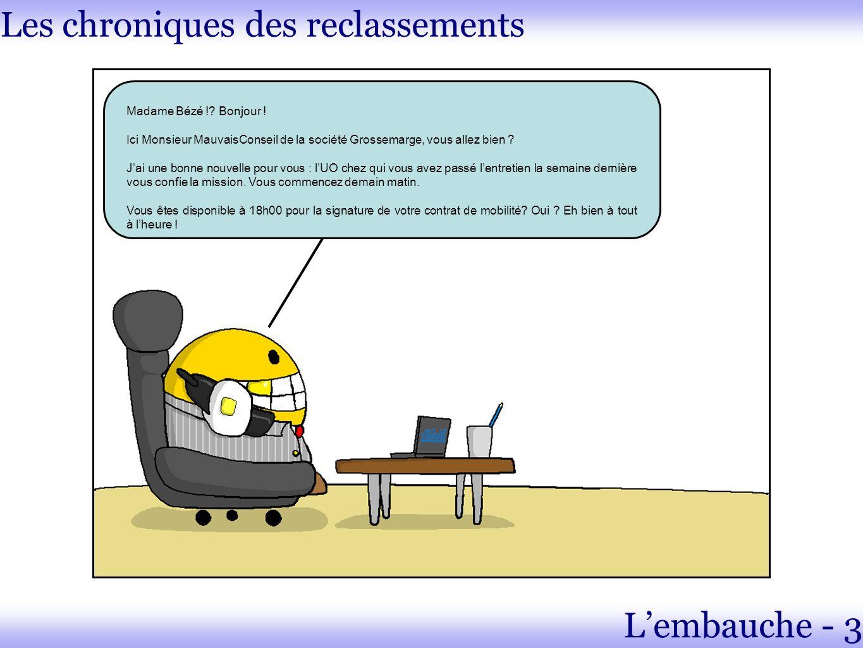 Les chroniques des reclassements Madame Bézé !. Bonjour .