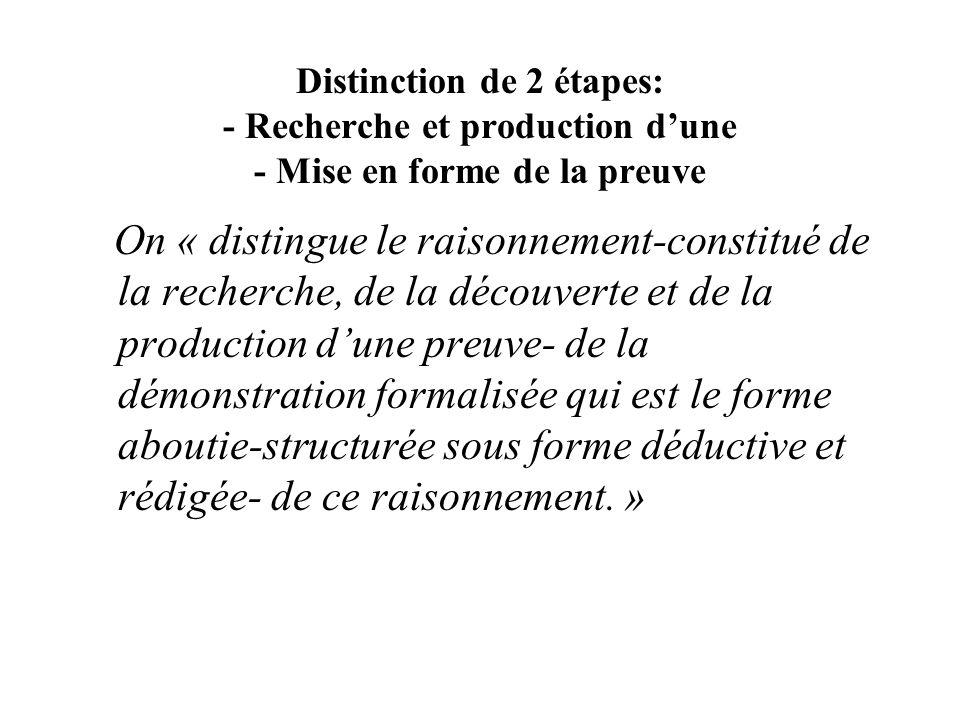 Distinction de 2 étapes: - Recherche et production dune - Mise en forme de la preuve On « distingue le raisonnement-constitué de la recherche, de la d