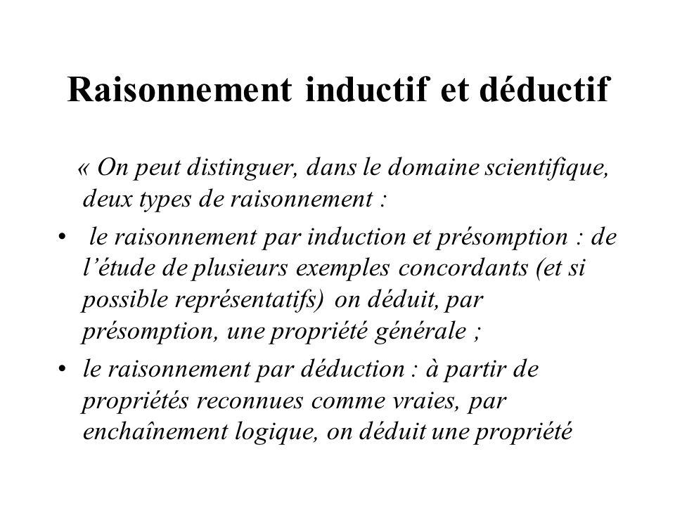 Raisonnement inductif et déductif « On peut distinguer, dans le domaine scientifique, deux types de raisonnement : le raisonnement par induction et pr