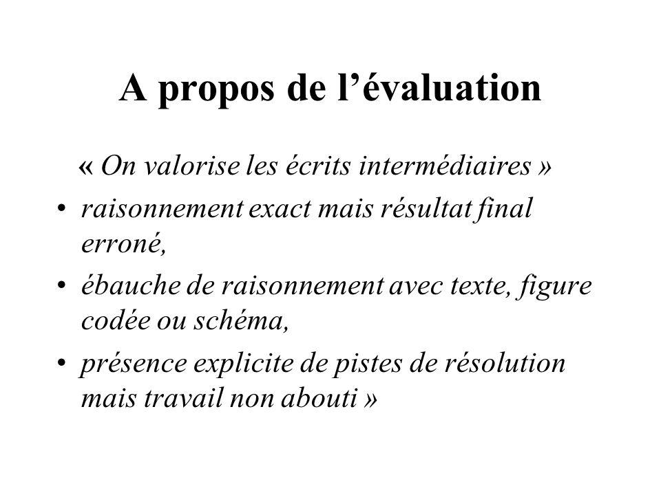 A propos de lévaluation « On valorise les écrits intermédiaires » raisonnement exact mais résultat final erroné, ébauche de raisonnement avec texte, f
