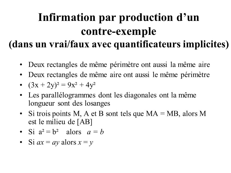 Infirmation par production dun contre-exemple (dans un vrai/faux avec quantificateurs implicites) Deux rectangles de même périmètre ont aussi la même