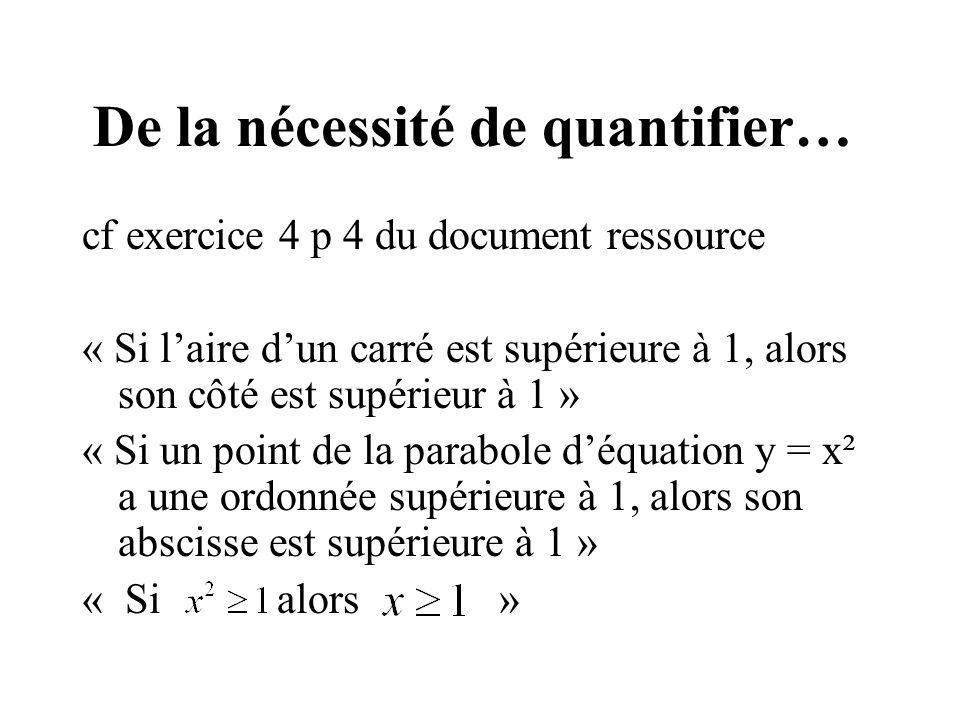 De la nécessité de quantifier… cf exercice 4 p 4 du document ressource « Si laire dun carré est supérieure à 1, alors son côté est supérieur à 1 » « S