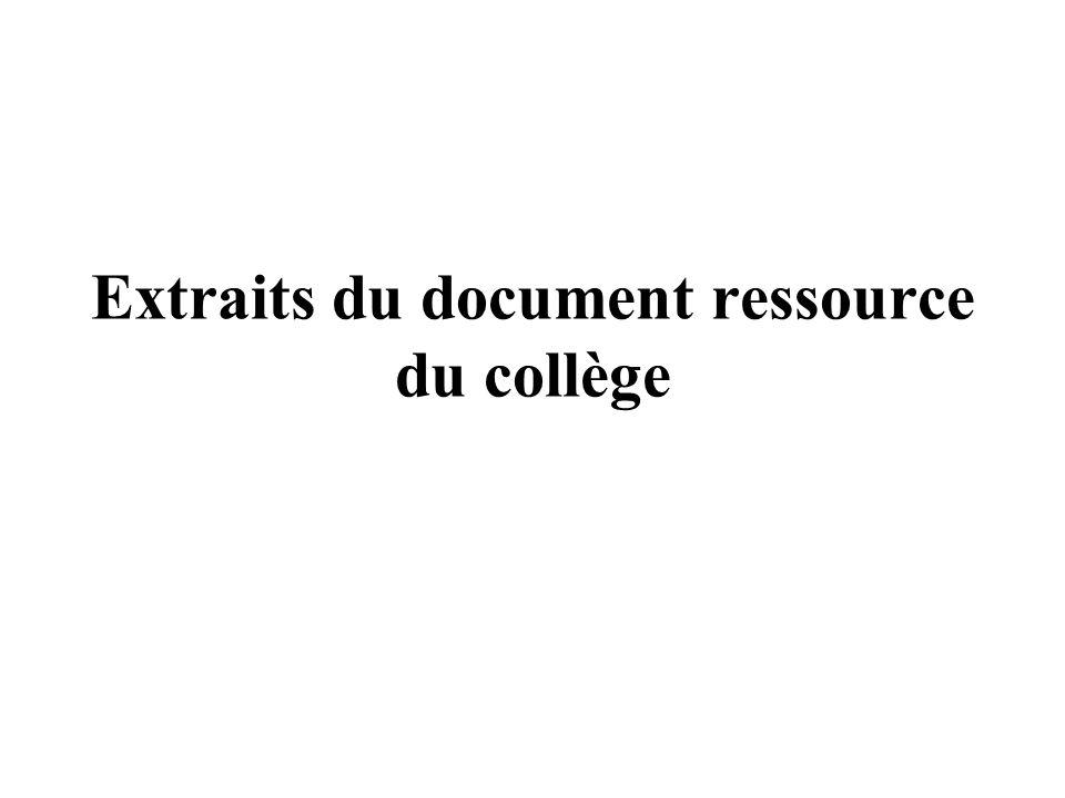Extraits du document ressource du collège