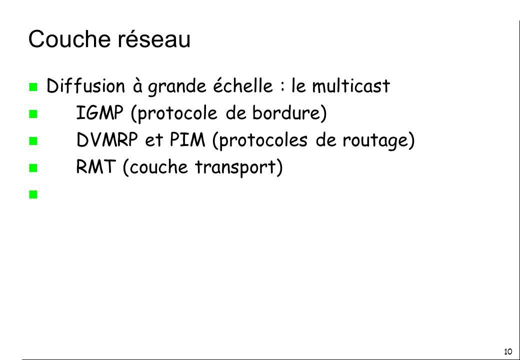 10 Couche réseau n Diffusion à grande échelle : le multicast n IGMP (protocole de bordure) n DVMRP et PIM (protocoles de routage) n RMT (couche transport) n