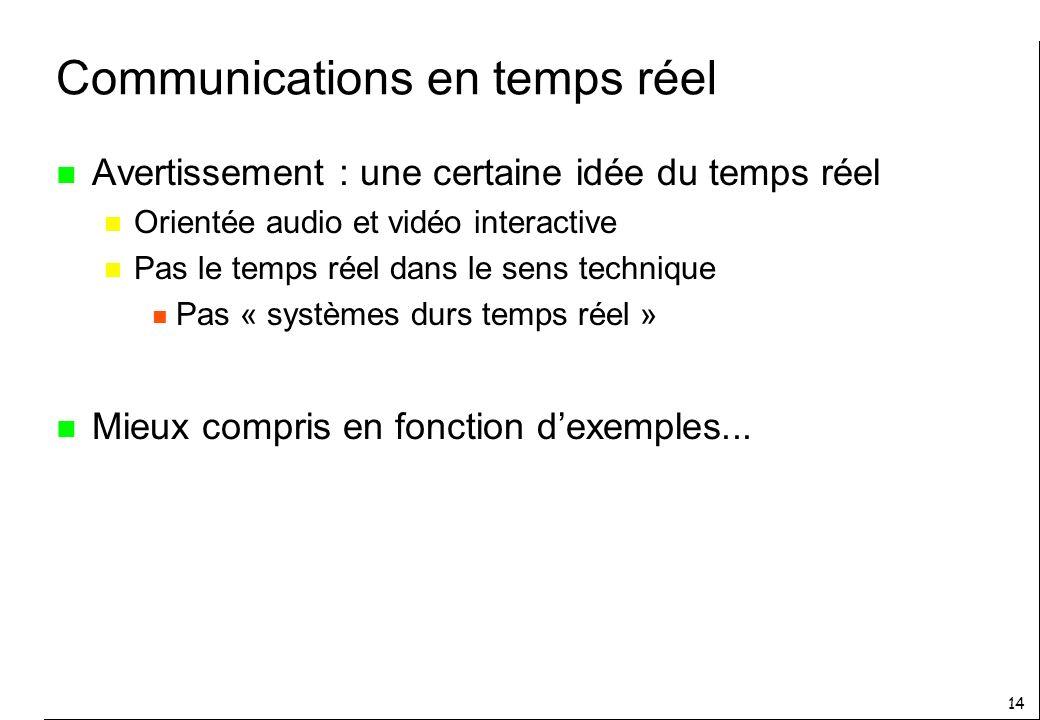 14 Communications en temps réel n Avertissement : une certaine idée du temps réel n Orientée audio et vidéo interactive n Pas le temps réel dans le sens technique n Pas « systèmes durs temps réel » n Mieux compris en fonction dexemples...