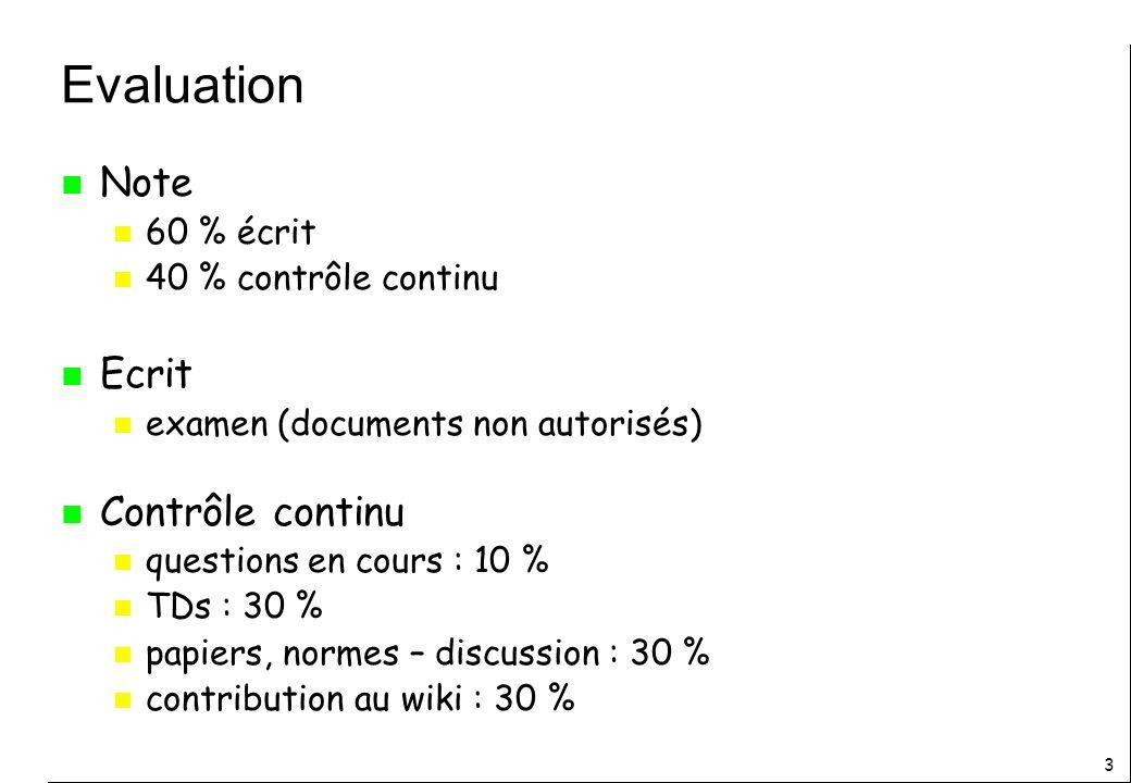 3 Evaluation n Note n 60 % écrit n 40 % contrôle continu n Ecrit n examen (documents non autorisés) n Contrôle continu n questions en cours : 10 % n TDs : 30 % n papiers, normes – discussion : 30 % n contribution au wiki : 30 %